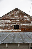 USA, Oregon, Enterprise, the front of a barn and elk skull at the Snyder Ranch in Northeast Oregon
