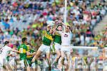 Dara Moynihan an Mark Ryan Kerry in action against  Aaron Masterson Kildare in the All Ireland Minor Football Semi Final at Croke Park on Sunday.