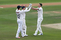 Matthew Fisher of Yorkshire celebrates taking the wicket of Rishi Patel during Essex CCC vs Yorkshire CCC, Specsavers County Championship Division 1 Cricket at The Cloudfm County Ground on 8th July 2019