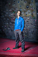 Tom Randall posing for portrait at The Foundry climbing wall on 6th March 2017, Sheffield, United Kingdom