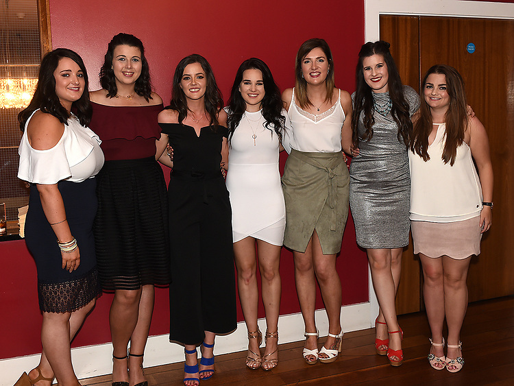 Rachel Grimes pictured with friends at her birthday and leaving party in Brú. Photo:Colin Bell/pressphotos.ie