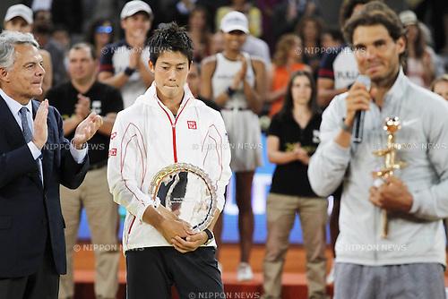 Kei Nishikori (JPN), MAY 11, 2014 - Tennis : Kei Nishikori of Japan looks dejected after the men's singles final match of the Mutua Madrid Open tennis tournament at the La Caja Magica in Madrid, Spain, May 11, 2014. (Photo by AFLO)