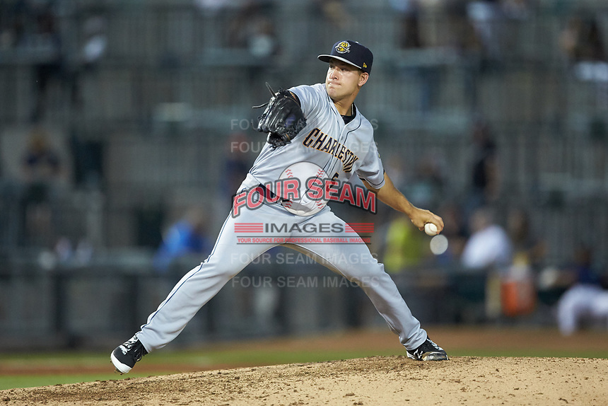 Charleston RiverDogs relief pitcher Trevor Lane (5) in action against the Columbia Fireflies at Spirit Communications Park on June 9, 2017 in Columbia, South Carolina.  The Fireflies defeated the RiverDogs 3-1.  (Brian Westerholt/Four Seam Images)