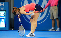 Tsvetana Pironkova of Bulgaria reacts after missing a point against Angelique Kerber of Germany during their final match at the Sydney International tennis tournament, Jan. 10, 2014.  Daniel Munoz/Viewpress IMAGE RESTRICTED TO EDITORIAL USE ONLY