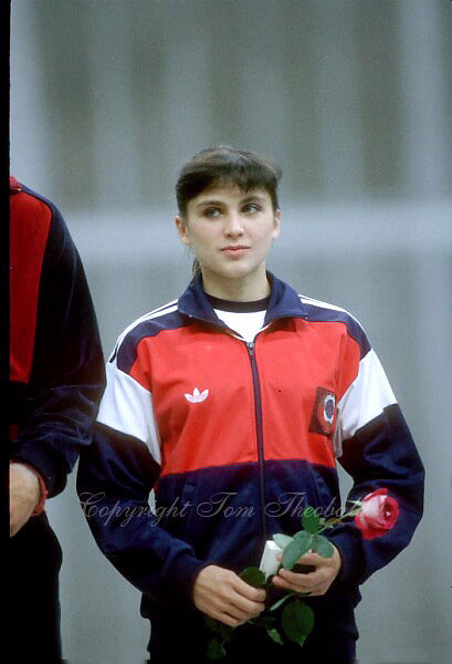 July 23, 1983; Moscow, Soviet Union; Artistic gymnast Natalia Yurchenko of Soviet Union smiles during closing ceremony for artistic gymnastics at 1986 Goodwill Games in Moscow.  Copyright 1983 Tom Theobald.Photo note: My memory was that Natalia didn't perform at GWG 1986 and this was more an appearance only during closing ceremony at Olympisky Arena.
