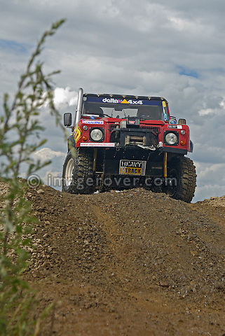 Land Rover Defender, racing at the Rallye Dresden Breslau 2007, climbing a hill. --- No releases available. Automotive trademarks are the property of the trademark holder, authorization may be needed for some uses.