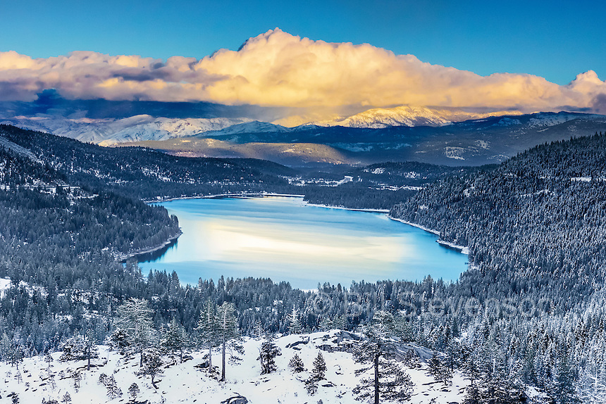 A breaking winter storm above Donner Lake near Truckee, CA