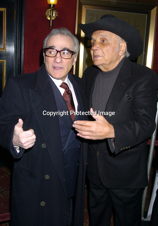 "Martin Scorsese and Jake LaMotta..at The Special 25th  Anniversary Premiere in New York City of ""Raging Bull"" and the release of the Collectors Edition  DVD at The Ziegfeld Theatre on January 27, 2005...Photo by Robin Platzer, Twin Images"