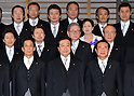 September 2, 2011, Tokyo, Japan - Japan's new Prime Minister Yoshihiko Noda, center, pose with his Cabinet ministers for a formal photo session following a swearing-in ceremony before Emperor Akihito at the Imperial Palace in Tokyo on Friday, September 2, 2011. Noda, 54, formed his Cabinet with relatively unknown lawmakers to tackle a tall task to reconstruct the quake-hit area and the countrys economy. (Photo by Natsuki Sakai/AFLO) [3615] -mis-