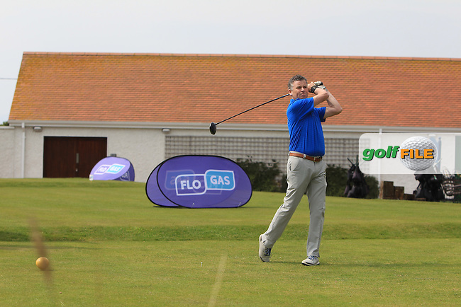 Greg Allen (RTE) on the 1st tee during the Flogas Irish Amateur Open Championship Am-Am at Royal Dublin on Monday 9th May 2016.<br /> Picture:  Thos Caffrey / www.golffile.ie
