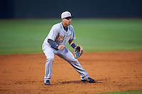 Montgomery Biscuits shortstop Willy Adames (12) fields a ground ball during a game against the Chattanooga Lookouts on May 2, 2016 at AT&T Field in Chattanooga, Tennessee.  Chattanooga defeated Montgomery 9-6.  (Mike Janes/Four Seam Images)