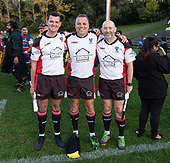 Referee Nigel Bradley with AR's Brandon Roberts and Bill Howie. Counties Manukau Premier 1 McNamara Cup Final between Ardmore Marist and Bombay, played at Navigation Homes Stadium on Saturday July 20th 2019.<br />  Bombay won the McNamara Cup for the 5th time in 6 years, 33 - 18 after leading 14 - 10 at halftime.<br /> Photo by Richard Spranger.