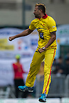 Rayad Emrit of City Kaitak reacts after taking the wicket during the DTC Hong Kong T20 Blitz match between HKI United vs City Kaitak on 12 March 2017, in Tin Kwong Road Recreation Ground, Hong Kong, China. Photo by Chris Wong / Power Sport Images