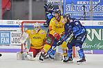 Brett Olson (Nr.16 - ERC Ingolstadt), Nicholas B. Jensen (Nr.48 - Duesseldorfer EG) und Brandon Mashinter (Nr.53 - ERC Ingolstadt) vor Torwart Mathias Niederberger (Nr.35 - Duesseldorfer EG) beim Spiel in der DEL, ERC Ingolstadt (dunkel) - Duesseldorfer EG (hell).<br /> <br /> Foto © PIX-Sportfotos *** Foto ist honorarpflichtig! *** Auf Anfrage in hoeherer Qualitaet/Aufloesung. Belegexemplar erbeten. Veroeffentlichung ausschliesslich fuer journalistisch-publizistische Zwecke. For editorial use only.