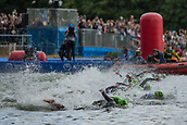 June 11th 2017, Leeds, Yorkshire, England; ITU World Triathlon Leeds 2017; Flora Duffy competes in the swimming phase in the lake at Roundhay Park