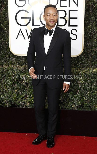 www.acepixs.com<br /> <br /> January 8 2017, LA<br /> <br /> John Legend arriving at the 74th Annual Golden Globe Awards at the Beverly Hilton Hotel on January 8, 2017 in Beverly Hills, California.<br /> <br /> By Line: Famous/ACE Pictures<br /> <br /> <br /> ACE Pictures Inc<br /> Tel: 6467670430<br /> Email: info@acepixs.com<br /> www.acepixs.com