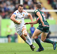 Phil Dollman of Exeter Chiefs in possession. Aviva Premiership match, between Leicester Tigers and Exeter Chiefs on September 30, 2017 at Welford Road in Leicester, England. Photo by: Patrick Khachfe / JMP