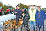 Eamon Walsh Brosna, Jerry Leahy Brosna, Bertie Moriarty Castleisland and Noel Reidy Cordal at the start of the  Paudie Fitzmaurice Memorial vintage tractor run at Castleisland Mart on Sunday
