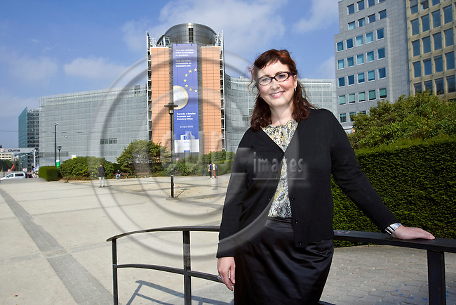 BRUSSELS - BELGIUM - 10 September 2012 -- Janica Ylikarjula, the head of the Confederation of Finnish Industries (EK) Brussels office, with the EU Commission Headquarters, the Berlaymont building in the back. -- PHOTO: Juha ROININEN /  EUP-IMAGES