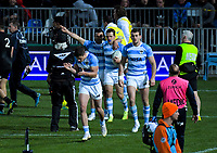 The Pumas celebrate Nicolas Sanchez' try during the Rugby Championship match between the New Zealand All Blacks and Argentina Pumas at Trafalgar Park in Nelson, New Zealand on Saturday, 8 September 2018. Photo: Dave Lintott / lintottphoto.co.nz