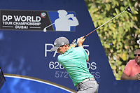 Paul Dunne (IRL) on the 14th tee during the 2nd round of the DP World Tour Championship, Jumeirah Golf Estates, Dubai, United Arab Emirates. 16/11/2018<br /> Picture: Golffile | Fran Caffrey<br /> <br /> <br /> All photo usage must carry mandatory copyright credit (© Golffile | Fran Caffrey)