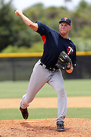 Tyler Herr (99) Pitcher for the GCL Twins delivers a pitch during a game against the GCL Rays on July 16th, 2010 at Charlotte Sports Park in Port Charlotte Florida. The GCL Twins are the the Gulf Coast Rookie League affiliate of the Minnesota Twins. Photo by: Mark LoMoglio/Four Seam Images