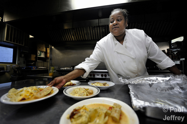 Lilly Thompson is the lead cook at the Mary Elizabeth Inn, which provides safe and permanent housing in San Francisco for women who were homeless or survivors of domestic violence. Along with the Verona Hotel, the Mary Elizabeth Inn is supported by the Women's Division of the United Methodist Church.