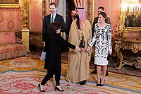Vice President Soraya Saenz de Santamaria, Queen Letizia of Spain and King Felipe VI of Spain before lunch in honor of Arabia Saudi heir prince, Mohámed bin Salmán at Royal Palace in Madrid, Spain. April 12, 2018. (ALTERPHOTOS/Borja B.Hojas) /NortePhoto.com