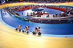 Engeland, London, 3 Augustus 2012.Olympische Spelen London.Baanwielrennen .Kirsten Wild, Amy Pieters en Ellen van Dijk eindigden als zesde met een tijd van 3.21,602 op de ploegenachtervolging