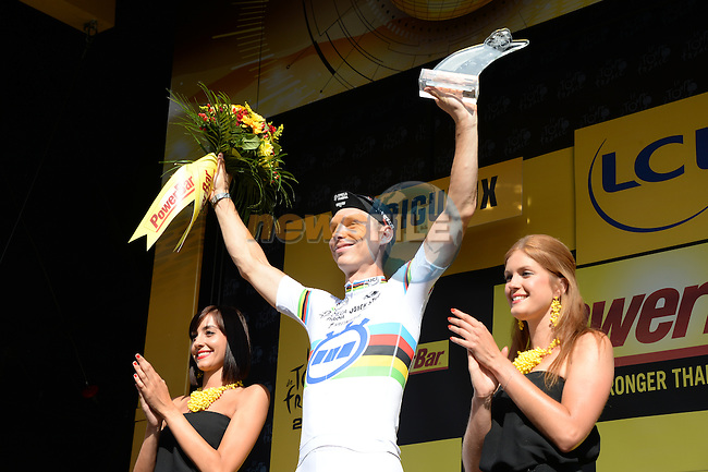 World Time Trial Champion Tony Martin (GER) Omega Pharma-Quick Step takes his 2nd victory of the Tour at the end of Stage 20 Individual Time Trial of the 2014 Tour de France running 54km from Bergerac to Perigueux. 25th July 2014.<br /> Photo ASO/X.Bourgois/www.newsfile.ie