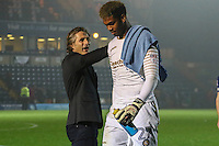 Manager of Wycombe Wanderers Gareth Ainsworth pats Jamal Blackman of Wycombe Wanderers on the back during the Sky Bet League 2 match between Wycombe Wanderers and Morecambe at Adams Park, High Wycombe, England on 12 November 2016. Photo by David Horn.