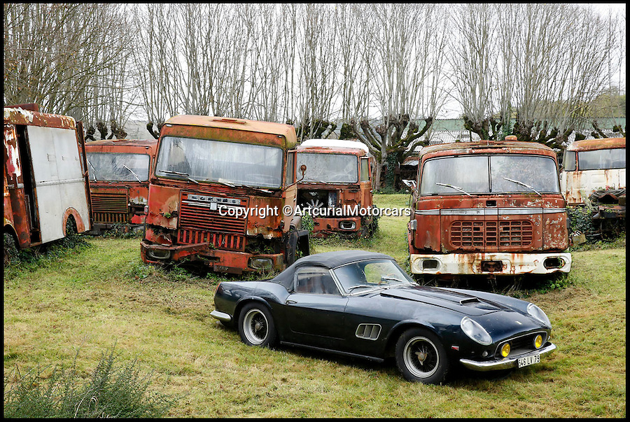 BNPS.co.uk (01202 558833)<br /> Pic: ArtcurialMotorcars/BNPS<br /> <br /> ***Please Use Full Bylne***<br /> <br /> Ferrari 250 GT California SWB.<br /> <br /> An incredible £12 million treasure trove of classic cars has been discovered after spending 50 years languishing in storage on a farm.<br /> <br /> The 60 rusting motors, which include a vintage Ferrari California Spider, a Bugatti and a very rare Maserati, were found gathering dust and hidden under piles of newspapers in garages and outbuildings at a property in France.<br /> <br /> The 'once-in-a-lifetime' find has been compared to a major archaeological discovery, on a par with Tutankhamun's tomb.