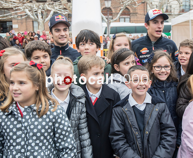 "Marc Marquez (Moto GP World champion) and his Repsol Honda team mate Dani Pedrosa attended the inauguration of ""Repsol Racing tour"". The exposition shows the 45 years history of the company in the world championship. The tour came to Alcala de Henares in Madrid thanks to the students of the Santa Maria de la Providencia school, who won a contest. On november 13, 2014. Photo by IVAN ESPINOLA/ DYD FOTOGRAFOS-DYDPPA/Photocall3000"