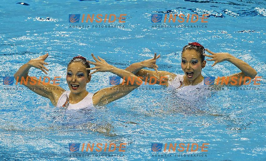 Shanghai ,  (CHN) 16-31 July 2001.XIV FINA Swimming World Championships.day 07.Duet Free .Final.JIANG Tingting JIANG Wenwen.CHN Silver Medal .Photo Insidefoto / Giorgio Scala