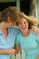 Mother and daughter having a laugh