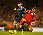 Sergio Aguero of Manchester City tackled by Emre Can of Liverpool - English Premier League - Liverpool vs Manchester City - Anfield Stadium - Liverpool - England - 3rd March 2016 - Picture Simon Bellis/Sportimage
