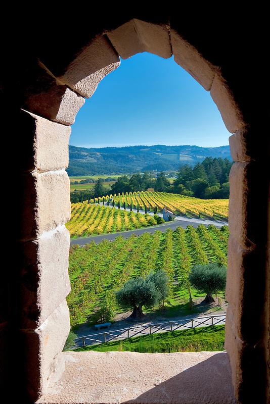 View through castle window at Castello di Amorosa. Napa Valley, California. Property relased