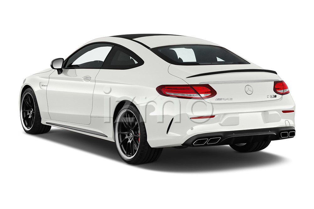 Car pictures of rear three quarter view of a 2018 Mercedes Benz C-Class Coupe AMG C63 S 2 Door Coupe angular rear