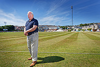Pictured: Malcolm Nash. Friday 22 June 2018<br /> Re: Lawrence Booth is interviewing Malcolm Nash, the bowler who was hit for six sixes by Garry Sobers 50 years ago, at the St Helen's cricket ground, Swansea, Wales, UK.