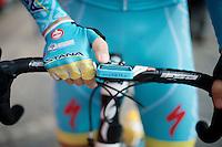 setting the bike computer before the start<br /> <br /> 79th Flèche Wallonne 2015