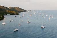 Anchored sailboats at Charlotte Amalie, U.S. Virgin Islands.
