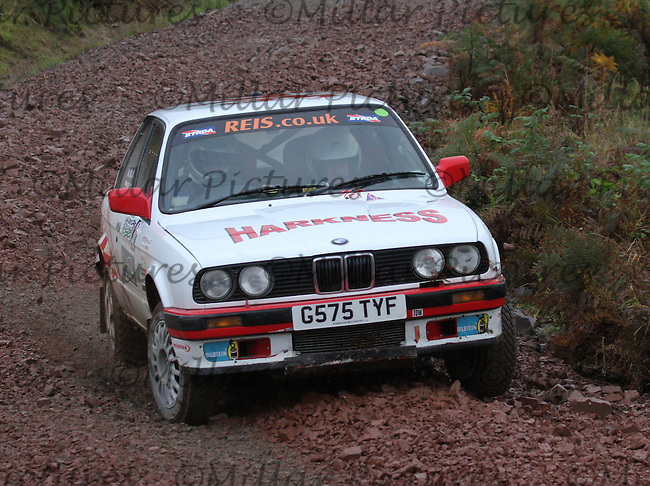 Robert Harkness / Mike Curry near Junction 5 on Special Stage 2 Jas P Wilson Forrest Machines Dalbeattie 1 of the Armstrong Galloway Hills Rally 2013, Round 9 of the RAC MSA Scotish Rally Championship sponsored by ARR Craib Transport Ltd which was organised by Solway, Machars and East Ayrshire Car Clubs and based in Castle Douglas on 27.10.13.