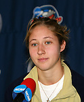 2 December 2006: Notre Dame's Amanda Cinalli. The University of Notre Dame Fighting Irish held a press conference at SAS Stadium in Cary, North Carolina one day before playing in the NCAA Division I Women's College Cup championship game.
