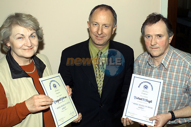 margaret Pitman St marys Villas and Michael McHugh Mornington who received there certificates from Minister Dermot Ahern TD in the Community services centre..Pic Fran Caffrey Newsfile