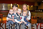 Sisters Emily Foran and Suzanne Dowling with their children Rory and Jack Fleming and Michael Dowling  at  the Bonny Baby competition held in the Grand Hotel on Monday morning in aid of Cystic Fibrosis Build for Life.