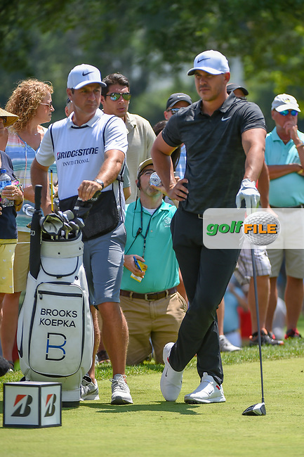 Brooks Koepka (USA) looks over his tee shot on 8 during 3rd round of the World Golf Championships - Bridgestone Invitational, at the Firestone Country Club, Akron, Ohio. 8/4/2018.<br /> Picture: Golffile | Ken Murray<br /> <br /> <br /> All photo usage must carry mandatory copyright credit (© Golffile | Ken Murray)