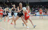 08.02.2017 New Zealand's Kelly Jury battles with Wales Bethan Dyke  during the Wales v Silver Ferns netball test match at Swansea University at Ice Arena Wales. Mandatory Photo Credit ©Ian Cook/Michael Bradley Photography.