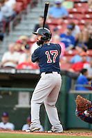 Pawtucket Red Sox designated hitter Ryan Roberts (17) at bat during a game against the Buffalo Bisons on August 23, 2014 at Coca-Cola Field in Buffalo, New  York.  Buffalo defeated Pawtucket 15-2.  (Mike Janes/Four Seam Images)