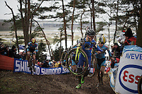 Gioele Bertolini (ITA) yelling at Eli Iserbyt (BEL) for trying to overtake him on the inside<br /> <br /> U23 men's race<br /> <br /> UCI 2016 cyclocross World Championships / Zolder, Belgium