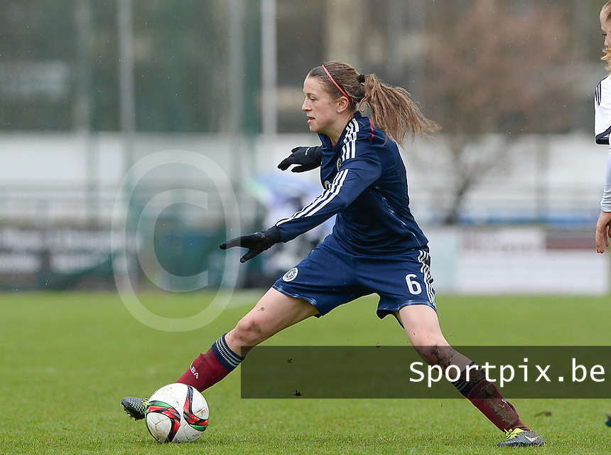 20150404 - FORST , GERMANY  : Scottish Elizabeth Arnot (6) pictured during the soccer match between Women Under 19 teams of Germany and Scotland , on the first matchday in group 5 of the UEFA Elite Round Women Under 19 at WaldseeStadion , Forst , Germany . Saturday 4th April 2015 . PHOTO DAVID CATRY